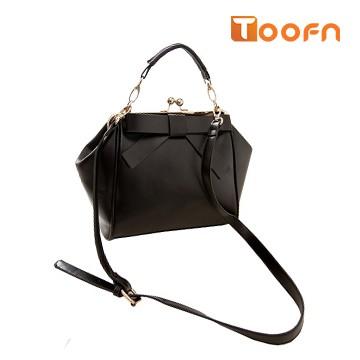 Toofn Handbag Bowknot Handbag Shoulder Crossbody Bag Black F