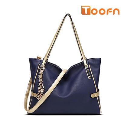 Toofn Handbag 2016 New European Fashion Lady Tassel Messenger Shoulder Handbag Blue F
