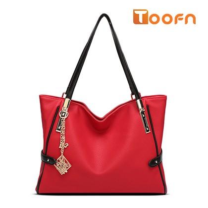 Toofn Handbag 2016 New European Fashion Lady Tassel Messenger Shoulder Handbag Red F