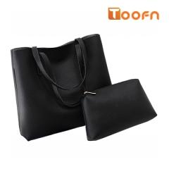 Toofn Handbag PU Leather Shoulder Bag,Women Bags Black F