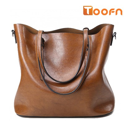 Toofn Handbag Long Strap Tote Bag,Retro Single Shoulder Bag with Large Capacity Brown F