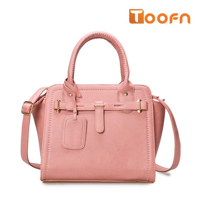 Toofn Handbag  Ladies Designer Leather Style Celebrity Tote Bag Handbag Pink F
