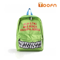 Toofn Handbag Fashion Funny Teeth Backpack schoolbag Green