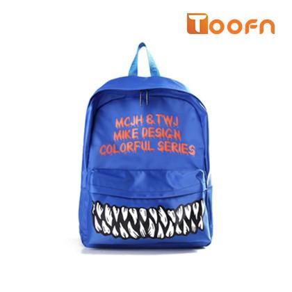 Toofn Handbag Fashion Funny Teeth Backpack schoolbag Blue