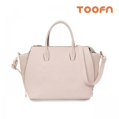 Toofn Handbag PU Leather Tote Bag,Ladies Hand Bag Rice White F