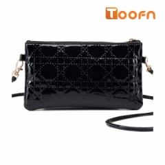 Toofn Handbag PU Leather Cosmetic bag Ladies Slingbag Purse black f