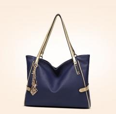 TOOFN Ladies Litchi pattern Leather shoulder bag handbags blue f