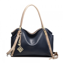TOOFN High quality leather handbag shoulder bags blue f