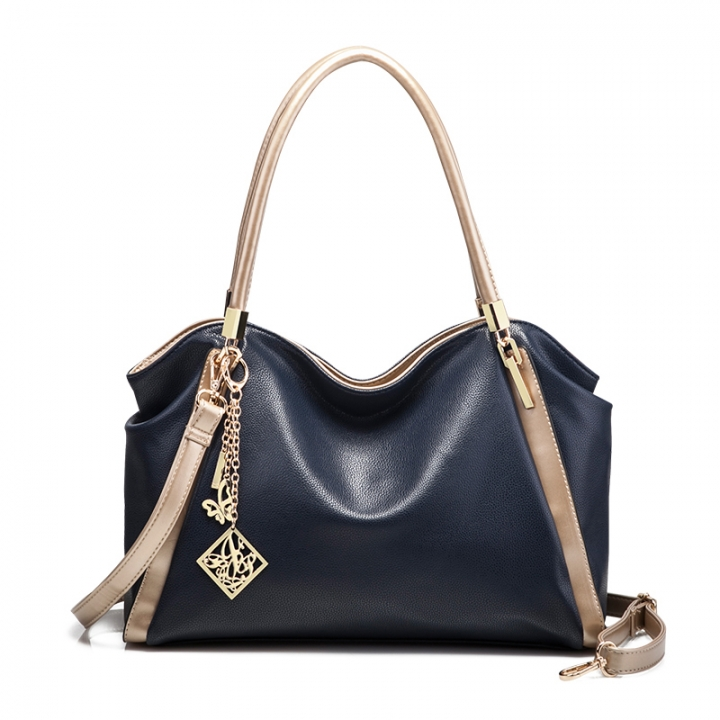 TOOFN High quality leather handbag shoulder bags blue f