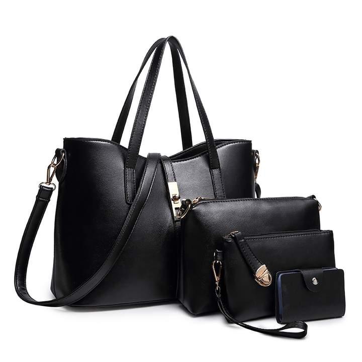TOOFN Classic style handbag shoulder bags black f