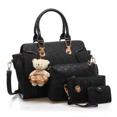 TOOFN Ladies luxery handbags 4-pcs set black f