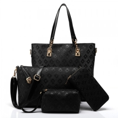 TOOFN 3 pieces set Luxery Tote Shoulder bags Women's Handbag black f