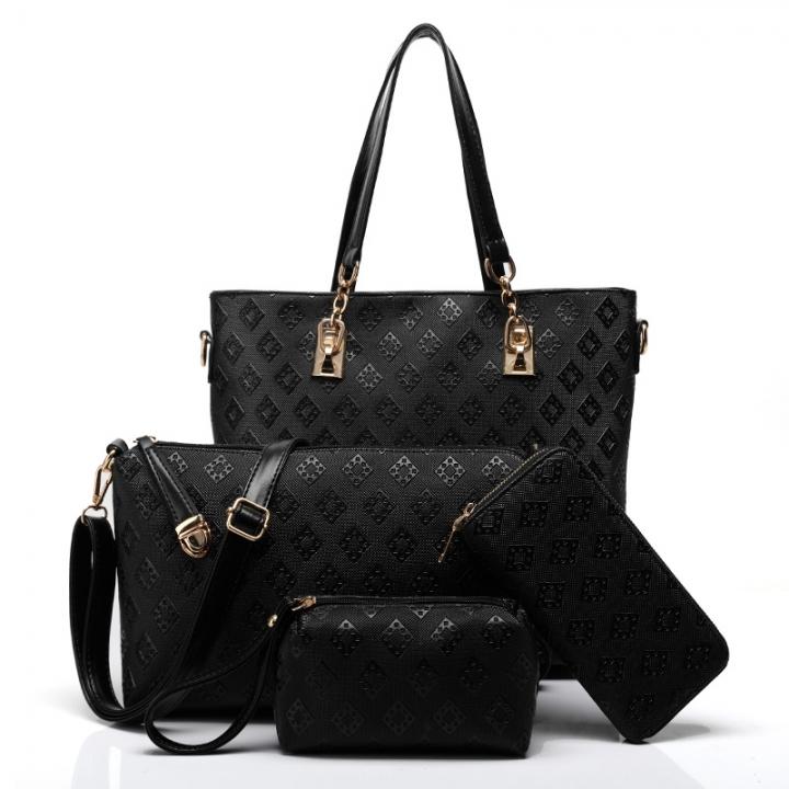 TOOFN 3 pieces set Luxery Tote Shoulder bags Women's Handbag black f