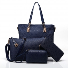 TOOFN 3 pieces set Luxery Tote Shoulder bags Women's Handbag blue f