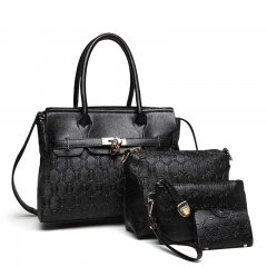 TOOFN Brand New Ladies handbag 4 pieces set black f