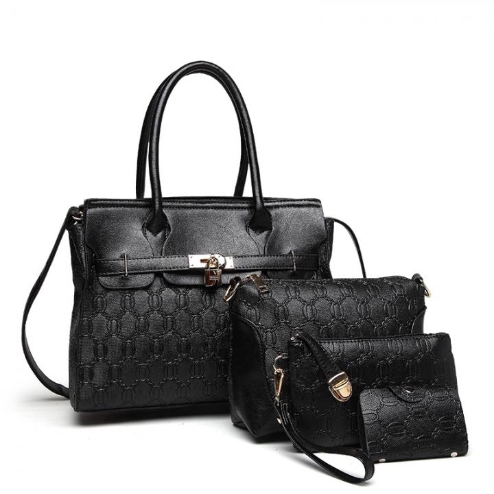 TOOFN Brand New Ladies handbag 4 pieces set black f