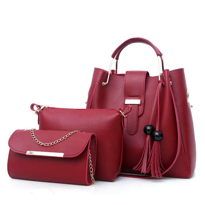 Toofn Handbag Fashion Big Handbag Shoulder Bag Three color Red F