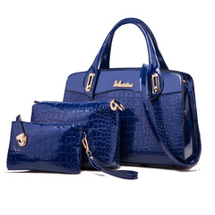 Toofn 3 Pieces Bright PU Crocodile Pattern Handbags Blue F