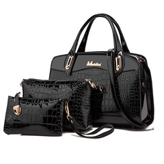 Toofn 3 Pieces Bright PU Crocodile Pattern Handbags Black F