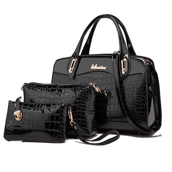 Toofn 3 Pieces Bright PU Crocodile Pattern Handbags Black F