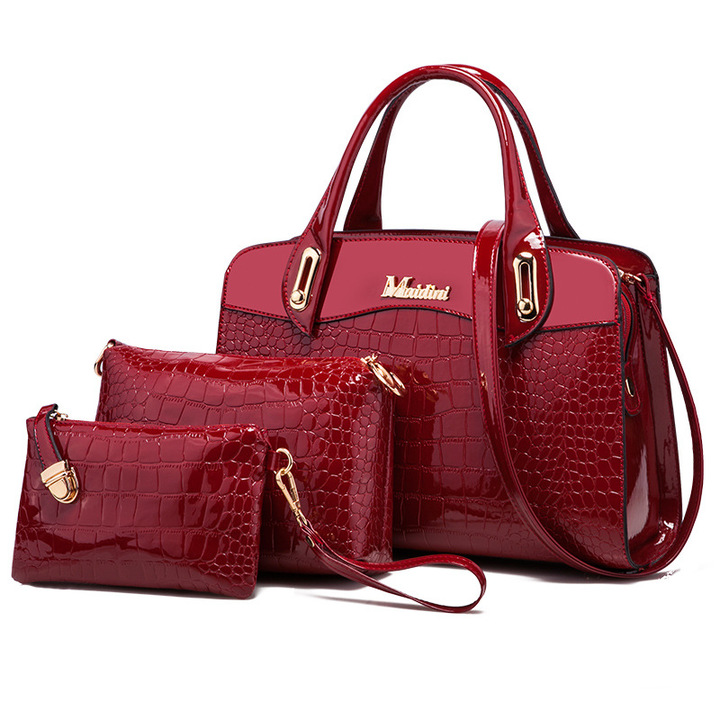 Toofn 3 Pieces Bright PU Crocodile Pattern Handbags Red F