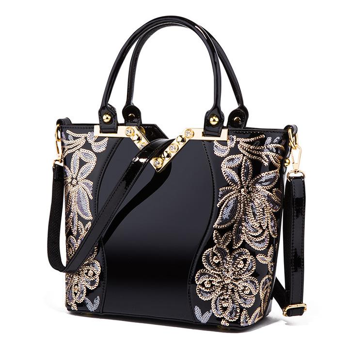 Toofn Elegant High Quality Embroidery Handbag Black F
