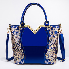 Toofn Elegant High Quality Embroidery Handbag Blue F