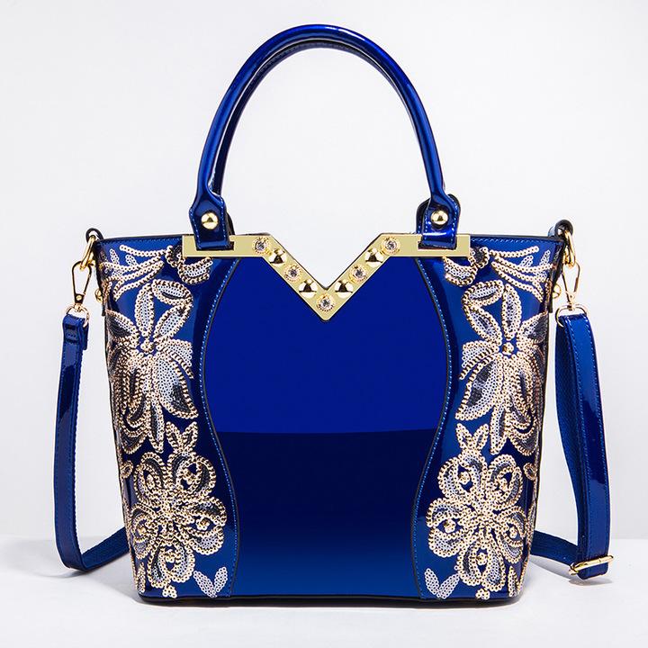 Toofn Elegant High Quality Embroidery Handbag Blue F