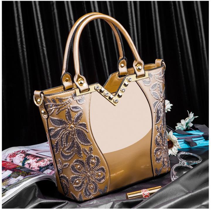 Toofn Elegant High Quality Embroidery Handbag Brown F