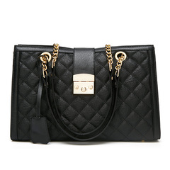 TOOFN Handbag Claasic Style Plaid Chain Ladies Bags black f