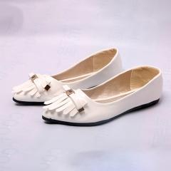 Women Ladies Fashion Platform Flat Casual Pointed Toe Tassel Shoes(SO16) white 37