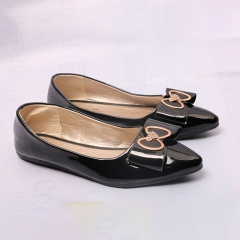 Women Ladies Fashion Platform Flat Casual Pointed Toe Heart  Bowknot Shoes(SO17) black 38