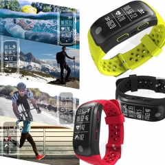 Fitness Tracker S908 GPS Running Watch Heart Rate Sleep Monitor Reminder IP68 Waterproof Wristband Black length:9.45 inches
