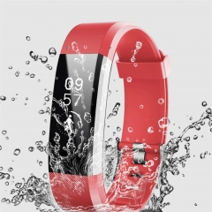 Wristband Smart Bracelet Pedometer Fitness Tracker Waterproof Heart Rate Monitor Sport Smartband red length:9.45 inches