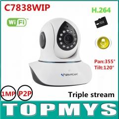 wireless IP camera C7838WIP HD 720P 1MP PT IR day night vision Dome camera wifi ip camera EU PLUG c7824wip 720p