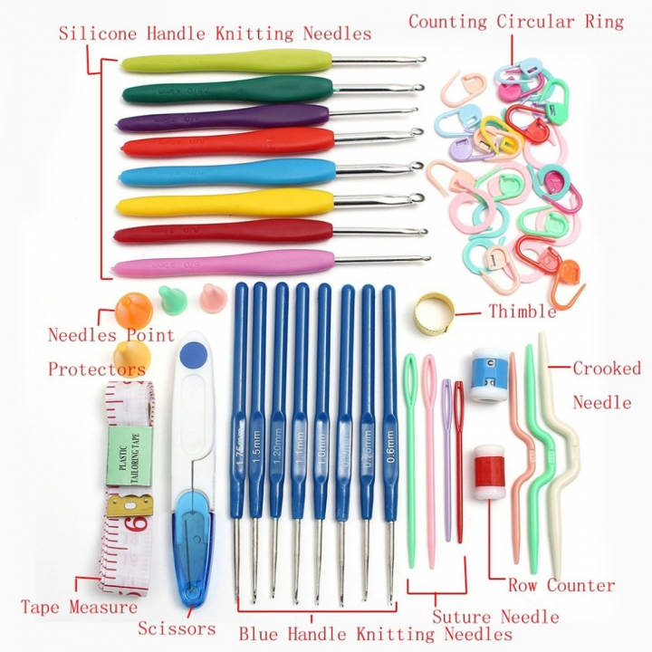 Home Use Sewing Tool Set 16 Sizes Crochet Hooks Needles Stitches Knitting Craft With Case white free line