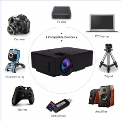 Home Video Projector E08 LCD Family Theater Projector Portable Multimedia 1500 Lumens black Not Include HDMI Cable
