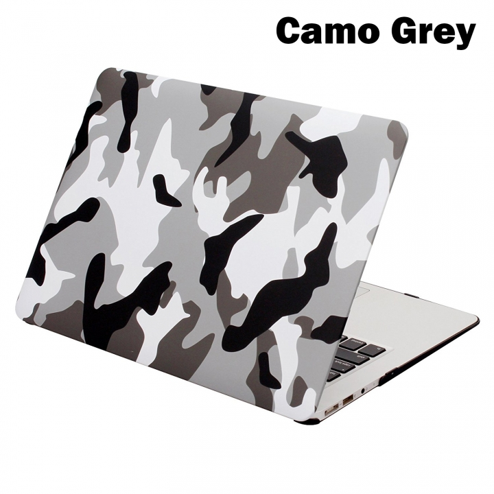 "MacBook Case, Plastic Hard Case for Apple Macbook 12""/Air 11""/ 13""/Pro 13""/15/Pro Retina 13""/15"" Camo Grey macbook 12"