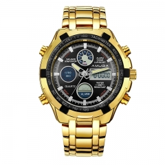 Luxury Gold Fashion Business Men Quartz-Watch Golden Rhinestone Male Wrist Watch designer1 one size