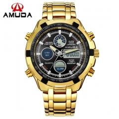 2017 Fashion Watches Men Luxury Brand AMUDA Gold Golden Watches Men Sports Quartz-watch Dual Time designer1 one size