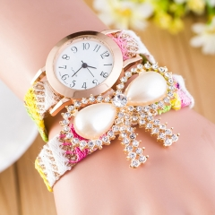 Ladies Bohemia Wrist Watch Synthetic Pearl Bow Knitting Chain Bracelet Strap Watches Random Colors