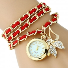 Platinum Large Pu leather chain Strap Rhinestone butterfly watch charm Fashion women watch bracelet random colors