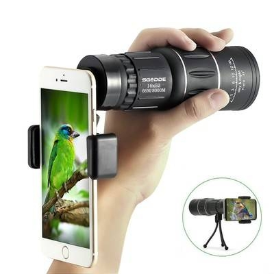 16x52 Dual Focus 66m/ 8000m Optics Zoom Monocular Telescopes, for Birds/Wildlife/hunting/camping Black One Size