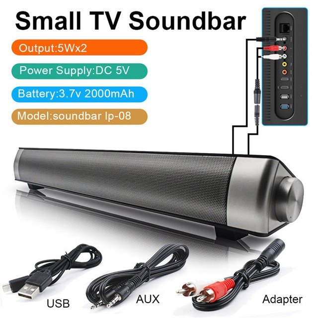 Sound Bar Wireless Subwoof Enhanced TV Remote Control Soundbar Card Plugging Bluetooth Speaker Grey One Size