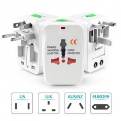 Universal World Wide Travel Charger Adapter Plug All in 1 AC Power EU/AU/UK/US/JP Surge Protector White One Szie