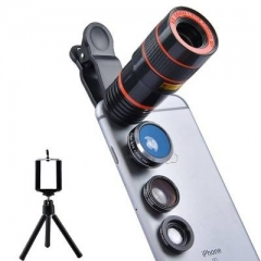 4 in 1 Camera Lens 8x Lens Fisheye+Wide Angle Macro Lens Camera shot for iPhone Samsung Galaxy Black
