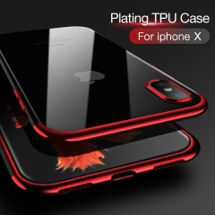 Soft TPU case for iPhone X / 7/8 plus / 6/6s plus cases ultra thin transparent plating shining case black iphone 8/7plus