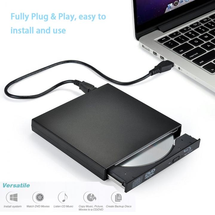 CD Player External DVD Drive USB 2.0 Portable DVD/CD-ROM Player CD-RW Burner Writer Recorder Drive Black DVD/CD-ROM