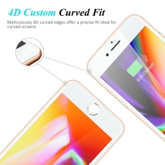 iPhone X/8/8 Plus 7/7 Plus 6/6s/6 Plus/6s Plus Screen Protector, 4D Full Coverage Tempered Glass white iPhone X