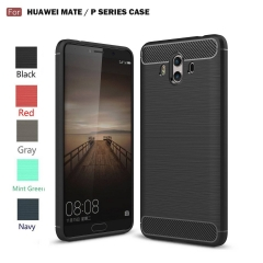 Huawei Mate 10/9/8 / P10/9/8 Case, Soft Silicon Case with Carbon Fiber Design Protection Cover black p10